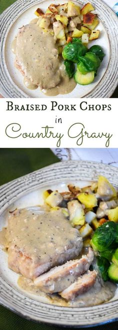 Easy pork chop recipe - Braised Pork Chops with Country Gravy are served up with skillet fried potatoes and brussels sprouts are delicious comfort food! #SundaySupper