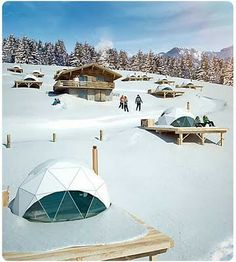 The Whitepod Resort in Les Cerniers, Swiss Alps - These look awesome Arch House, Dome House, Dome Tent, Refuge, Geodesic Dome, Swiss Alps, Winter Travel, Oh The Places You'll Go, Glamping
