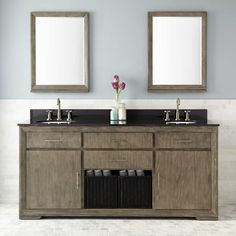 "72"" Davyn Mahogany Double Vanity for Undermount Sinks - Gray Wash"