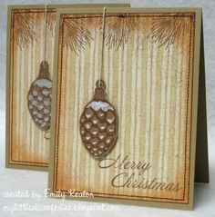 Lovely pine cones (card by Emily Keaton). #cards #card_making #Christmas