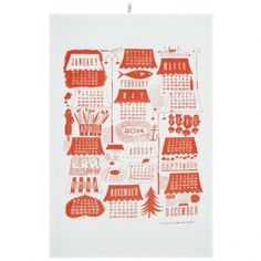 Calendar 2014 tea towel, orange