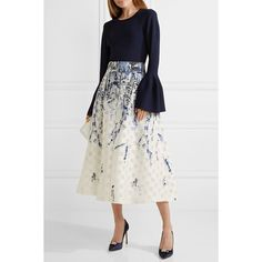 Lela Rose Fil coupé jacquard midi skirt (5.470 BRL) ❤ liked on Polyvore featuring skirts, flower print midi skirt, jacquard skirt, floral midi skirts, mid calf skirts and floral knee length skirt