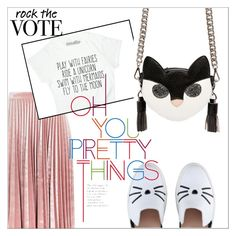 """""""rock the vote."""" by kaia-salvatore ❤ liked on Polyvore featuring Topshop, Karl Lagerfeld, MSGM and rockthevote"""
