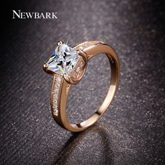 NEWBARK Classic 4 Prongs Setting Engagement Rings For Women Princess Cut CZ Diamond Minimalist Anel Rose Gold Plated Jewelry