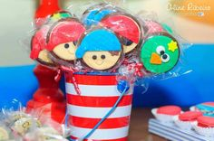 Cute treats at a Jake and the Neverland Pirates boy birthday party!  See more party ideas at CatchMyParty.com!