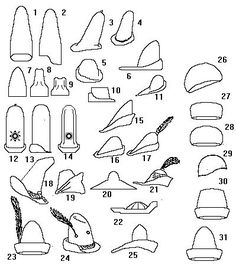 Some Headwear of the Middle Ages - Felt Hats Medieval Hats, Medieval Costume, Medieval Clothing, Medieval Peasant, 15th Century Fashion, 14th Century, Historical Costume, Historical Clothing, Hat Patterns To Sew