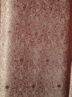 100% Pure Silk Brocade fabric Gold,Bronze metallic & Antique Rose color