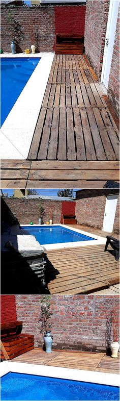 In the homes, where there is a pool; there is a special need of sitting area where the individuals can enjoy the drinks after taking a bath in the pool. So, the wooden pallets can be used for creating a sitting area beside the pool.