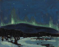 Tom Thomson Northern Lights Canadian Landscape Artist Art Print by EnShape - X-Small Emily Carr, Canadian Painters, Canadian Artists, Nocturne, Landscape Art, Landscape Paintings, Landscapes, Impressionist Landscape, Impressionism Art