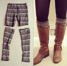 Turn your old leggings into new legwormers!!