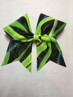 Neon green pink and blue cheer bow by HannahRoseCheerBows on Etsy
