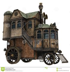 Fantasy house on wheels. render of a fantasy house on wheels , Fantasy House, High Fantasy, Fantasy Art, Diorama, Flying Ship, Caravan Renovation, Train Art, House Illustration, Travel Design