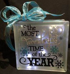 The Most Wonderful Time of the Year. Christmas, Frosted Glass Block. (564×602)