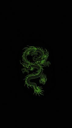 neon green dragon wallpaper astethic