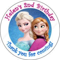 Disney Frozen Anna Elsa Birthday Party Lollipop Favor Loot Bag Sticker Labels | eBay