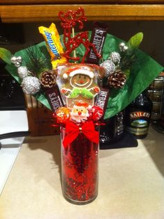 Christmas candy bouquet.