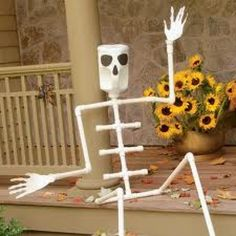 Made from plastic pipes and jugs, this bigger-than-life     skeleton is easy to pose on a porch swing or step, where he     can greet, and delight, trick-or-treaters. He's a snap to put     together and take apart, for easy storing after the holiday.