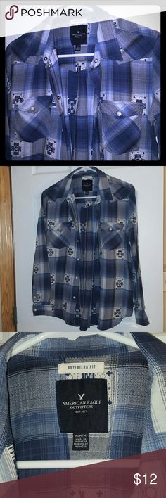 AEO Flannel long sleeve Blue and white denim like look flannel. Very good condition. No stains or worn areas. American  Eagle Outfitters brand. It has snap buttons. No trades. No low offers plz. American Eagle Outfitters Tops Button Down Shirts