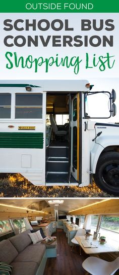 A huuuuuuge comprehensive list of everything we used in our skoolie school bus conversion, including flooring, lighting, appliances, plumbing, furniture, heater, toilet, stove, table, kitchen, bathroom, bedroom, and more. Perfect for RVs, van conversions, airstream renovations, and more!