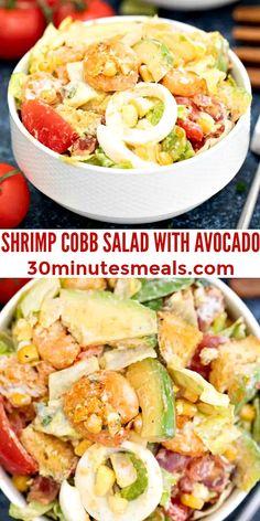 Shrimp Cobb Salad is a hearty, elegant rendition of the classic Cobb. #shrimpcobbsalad #saladrecipes #shrimpsalad #30minutesmeals #shrimprecipes