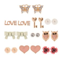 Summer Love Gold Stud Earrings Set of 10 | Icing