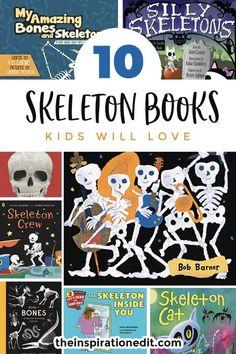 Today we have a fantastic list of 10 Skeleton books. These are great to read with little ones/ #booklist #readwithkids #childrensbooks #literacy #preschool #kindergarten #homeschool #reading #halloween #halloweenideas #skeleton #anatomy