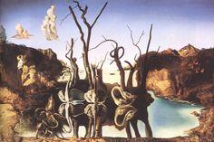 Cygnes reflétant des éléphants, 1937, Dali, huile sur toile.