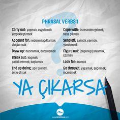 Şimdi vazgeçme! Ya Çıkarsa?www.remzihoca.com www.rheyds.com #yds #eyds #ydskelime #ydshazirlik #yds2017 #yokdil #yokdilkelime #yokdilhazirlik #ingilizce #vocabulary #english #yokdil2017 #ydssonbahar #yokkelime #onlineegitim #kelime #onlineyds #study #osym #remzihoca English Verbs List, Learn English Grammar, English Vocabulary Words, Grammar And Vocabulary, English Words, English Language, English Study, Learning English, Learn Turkish Language