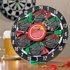"""Bullseye Treats Dart Board $29.99 Find it in the Snack Basket category of my online gift store!  Hit the bullseye with a delicious assortment of beer cheeses and a fun game of darts.  12"""" Dart Board, 6 Darts,and  6 assorted beer cheeses."""
