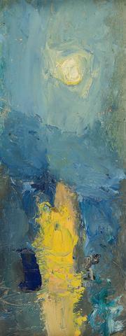 Joan Kathleen Harding Eardley, RSA (British, The Sunset 33 x cm x 5 in. City Landscape, Abstract Landscape, Landscape Paintings, Abstract City, Glasgow School Of Art, Blue Painting, Sky Art, Art Uk, Art Challenge