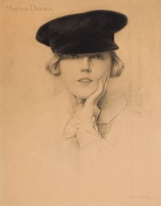 Marion Davies by Charles Gates Sheldon. Charcoal and pencil on board, 1920s.