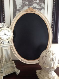 Hey, I found this really awesome Etsy listing at http://www.etsy.com/listing/161332298/antique-wood-oval-framed-chalkboard-gold