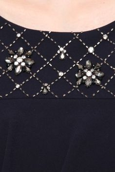 This design would certainly dress-up a plain black garment Pearl Embroidery, Hand Embroidery Dress, Tambour Embroidery, Bead Embroidery Patterns, Couture Embroidery, Embroidery Fashion, Hand Embroidery Designs, Embroidery Stitches, Tambour Beading