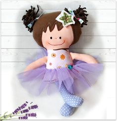 Handmade rag doll Cloth doll Toddler Gift by Fairybugcreativetoys
