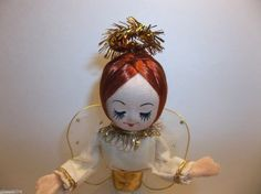 """Vintage  ANGEL Tree Topper Christmas Ornament RED Hair 7"""""""