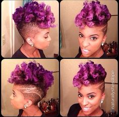 Purple Natural Hair- Naturally Me! Purple Natural Hair, Purple Hair, Dark Purple, Curly Hair Styles, Natural Hair Styles, Natural Mohawk, Curly Mohawk, Curly Fro, Natural Beauty
