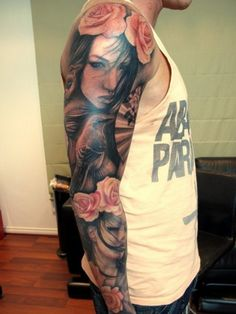 two-tone girls, roses and bird sleeve (arm) tattoo