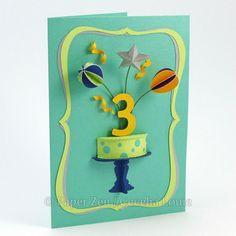 3D birthday cake card by Paper Zen / Cecelia Louie