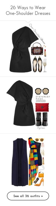 """""""26 Ways to Wear One-Shoulder Dresses"""" by polyvore-editorial ❤ liked on Polyvore featuring waystowear, OneShoulderDresses, Jacquemus, Jimmy Choo, Alexander McQueen, Chanel, Christian Dior, party, partystyle and Alexander Wang"""
