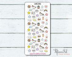Unicorn & Rainbow stickers-J116-tiny minimes by FifteenPril