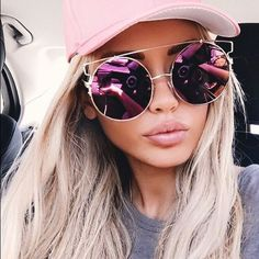 Oversized Mirrored Round Wire Brow Bar Sunglasses