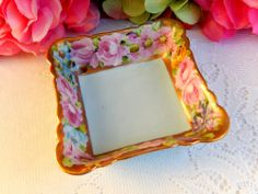 Beautiful Vintage Seltmann Weiden Porcelain Hand Painted Dish ~ Roses ~ Gold