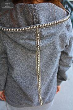 Tut: Hoodie Augmentation: Studded & Chain Lining.......rosemary...