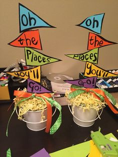 Easy table centerpiece for end of year preschool party. Dr Seus oh the places yo. , Easy table centerpiece for end of year preschool party. Dr Seus oh the places you'll go. Pre K Graduation, Graduation Theme, Kindergarten Graduation, Graduation Celebration, Birthday Celebration, Graduation Ideas, Kindergarten Party, Graduation Parties, Graduation Gifts