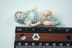 Miniature Dollhouse Baby Doll Crochet Outfit