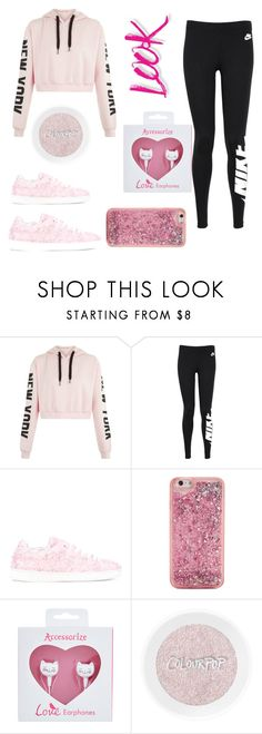 """the look"" by cicilia-howell ❤ liked on Polyvore featuring NIKE, Joshua's, ban.do, Accessorize and NYX"