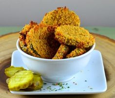 Oven Baked Fried Pickles Recipe - made it! Baked Fried Pickles, Fried Pickles Recipe, Baked Fried Chicken, Cheese Chips, Fries In The Oven, Oven Baked, Healthy Snacks, Healthy Sweets, Appetizers