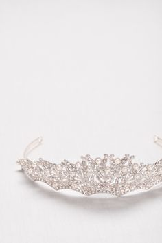 For the princess bride, a sparkling pearl and crystal scallop tiara by WHITE by Vera Wang | Bridal headpieces from David's Bridal