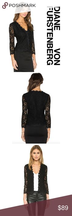 """Diane von Furstenberg Black Bria Lace Cardigan Top New with tag, Diane von Furstenberg """"Bria"""" Lace Cardigan / Top in Black. Retail: $268 Size: 4  Versatile DVF cardigan in pretty lace. Just add a black skirt or pants and you're ready for a party; or pair it with a T or cami and wear it open, & it can be a perfect topper for any night out.  - Front button closure with hidden placket. - 3/4 sleeves. - Fitted silhouette. - Scalloped hem, neck, and cuffs. - Rayon/nylon combo; lining…"""