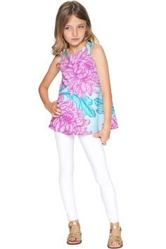 Floral Bliss Emily Pink & Blue Cute Sleeveless Eco Top - Girls